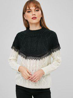 Mock Neck Two Tone Cable Knit Sweater - Black S