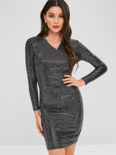 Ruched Sequined Fitted Dress - Black