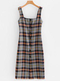 Robe Mi-Longue Boutonnée à Carreaux - Multi S