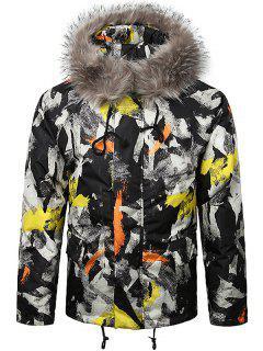 Paint Splatter Fur Hooded Drawstring Design Padded Jacket - Yellow 2xl