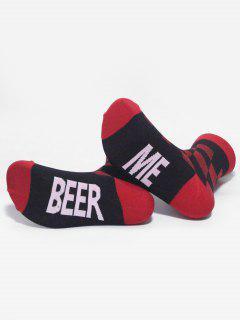 BEER ME Printing Cotton Ankle Socks - Red
