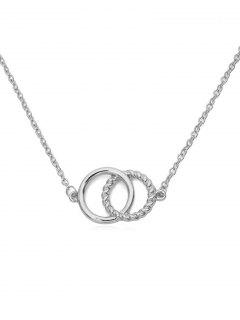Double Rings Metal Choker Necklace - Plata