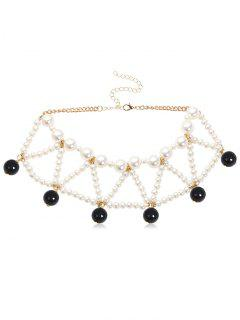 Triangle Faux Pearl Beading Design Necklace - Black