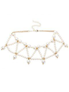 Triangle Faux Pearl Beading Design Necklace - White