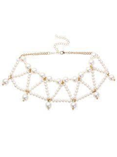 Collier Triangle Perlé Design Avec Fausse Perle - Blanc
