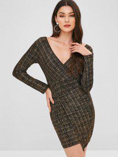 Surplice Sparkly Asymmetric Dress - Gold