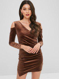 Velvet Cold Shoulder Surplice Dress - Brown