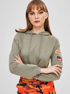 Drop Shoulder American Flag Crop Hoodie - Camouflage Green S