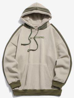 Stripe Patchwork Letter Fleece Hoodie - Light Khaki 2xl