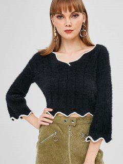 Contrasting Scalloped V Neck Sweater - Black S