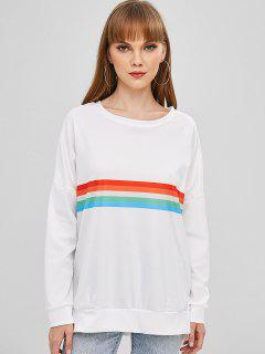 Striped Pullover Baggy Oversized Sweatshirt - Multi-b M