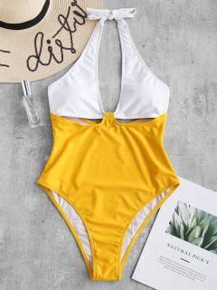 ZAFUL Color Block Halter Cut Out Swimsuit - Yellow S