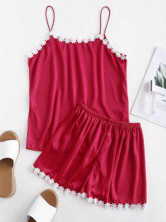 Pijama De Ganchillo Con Estampado Floral De Raso - Rojo Lava 2xl