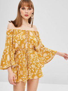 Floral Print Off Shoulder Wide Leg Romper - Yellow M
