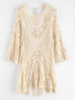Backless Crochet Cover Up Dress - Warm White