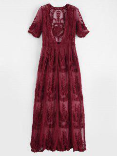 Plunging Lace Scalloped Slit Cover Up - Red Wine
