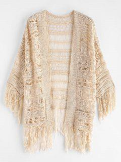 Hollow Out Fringed Cover Up - Warm White