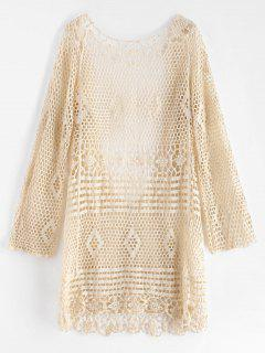 Backless Hollow Out Cover Up Dress - Warm White