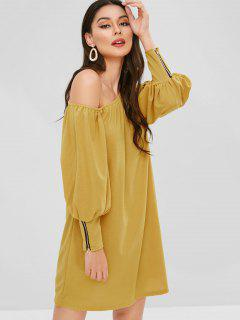 Zippered One Shoulder Mini Dress - Yellow S