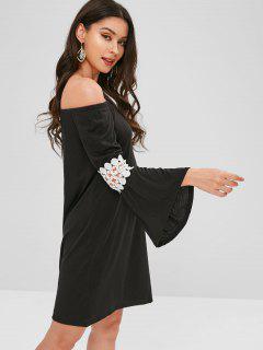 Flare Sleeve Off Shoulder Mini Dress - Black S