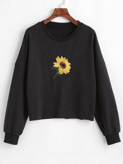 Sequins Sunflower Embroidered Sweatshirt - Black S