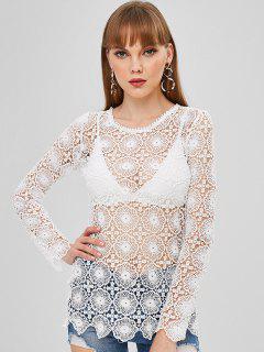 Long Sleeve Open Crochet Top - White L
