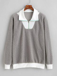 Faux Fur Quarter Zip Pullover Sweatshirt - Light Gray M
