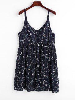 Robe à Bretelle Fleurie Imprimée à Taille Empire - Bleu Profond