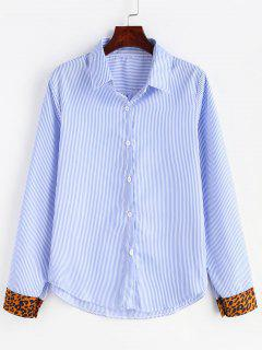 Leopard Print Cuffs Buttoned Striped Shirt - Light Blue S