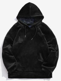 Solid Feather Embroidery Velvet Hoodie - Black L