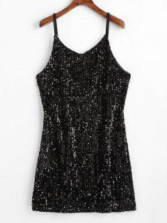 Sequined Dual Straps Mini Dress - Black S