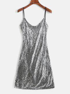 Sequin Open Back Cami Party Dress - Silver S