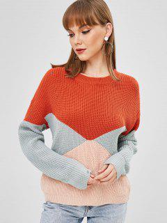 Drop Schulter Colorblock Sweater - Multi-a