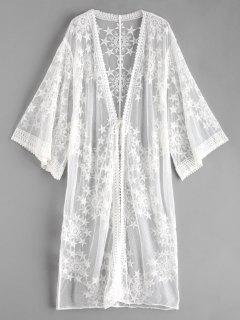 Star Drop Shoulder Longline Sheer Cover Up - White
