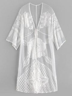 Floral Lace Tie Front Longline Cover Up - White