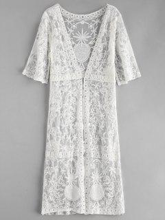 Lace Open Front Longline Cover Up - White