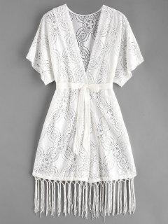 Belted Lace Tassel Cover Up - White