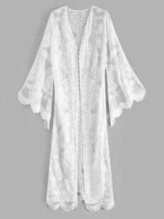 Scalloped Flare Sleeve Beach Cover Up - White
