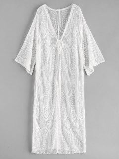 Lace Tie Front Longline Cover Up - White