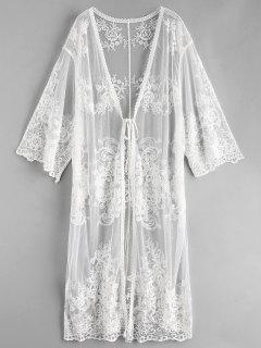 Lace Tie Front Longline Kimono Cover Up - White