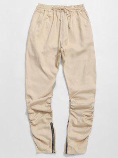 Zipper Design Ruched Drawstring Pants - Light Khaki L