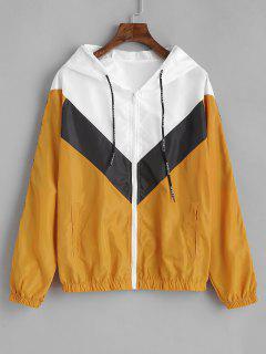 Tricolor Chevron Swishy Track Jacket - Bee Yellow M