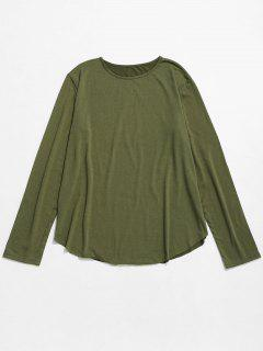Round Collar Long Sleeves Solid Color T Shirt - Army Green 3xl