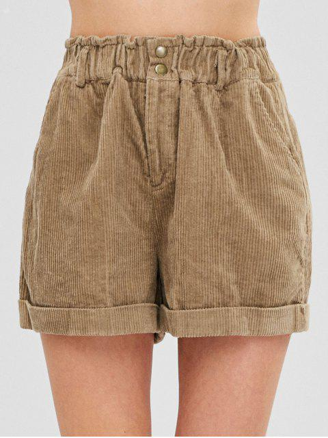 Short en Velours Côtelé à Revers - Marron Camel M Mobile