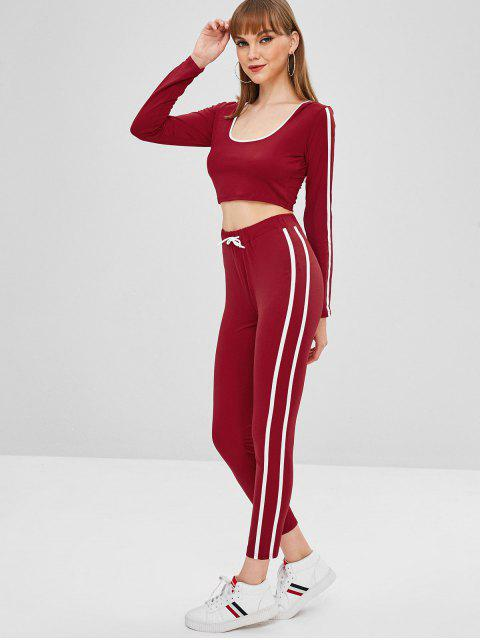 womens Striped Jersey Crop Top and Pants Two Piece Set - RED WINE L Mobile