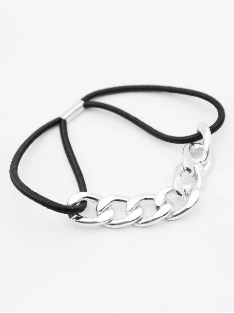 shop Joint Metal Chain Elastic Hair Band - SILVER  Mobile
