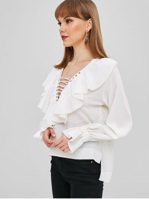 outfit Ruffles Lace Up High Low Blouse - WHITE L Mobile