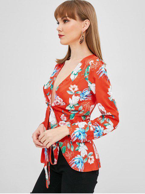 shops Floral Wrap Blouse - BRIGHT ORANGE M Mobile