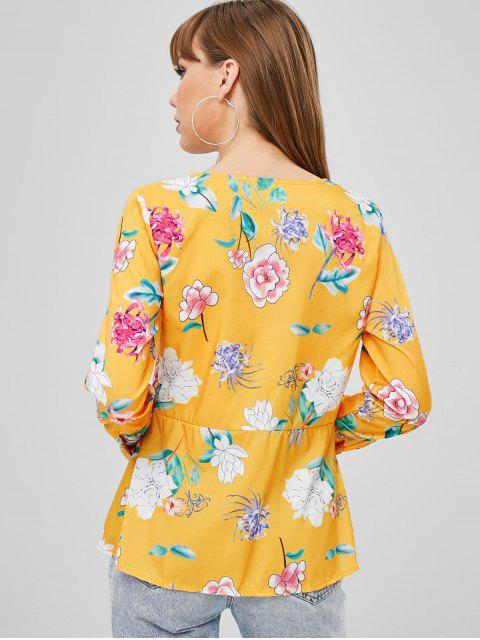 trendy Floral Wrap Blouse - GOLDEN BROWN XL Mobile