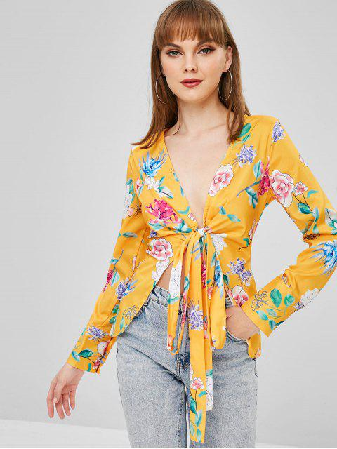 latest Floral Wrap Blouse - GOLDEN BROWN M Mobile